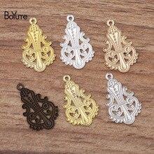 BoYuTe-breloques bricolage en laiton   14*23MM, 100 pièces/lot, en forme de fleur, matériel de bijouterie fait à la main