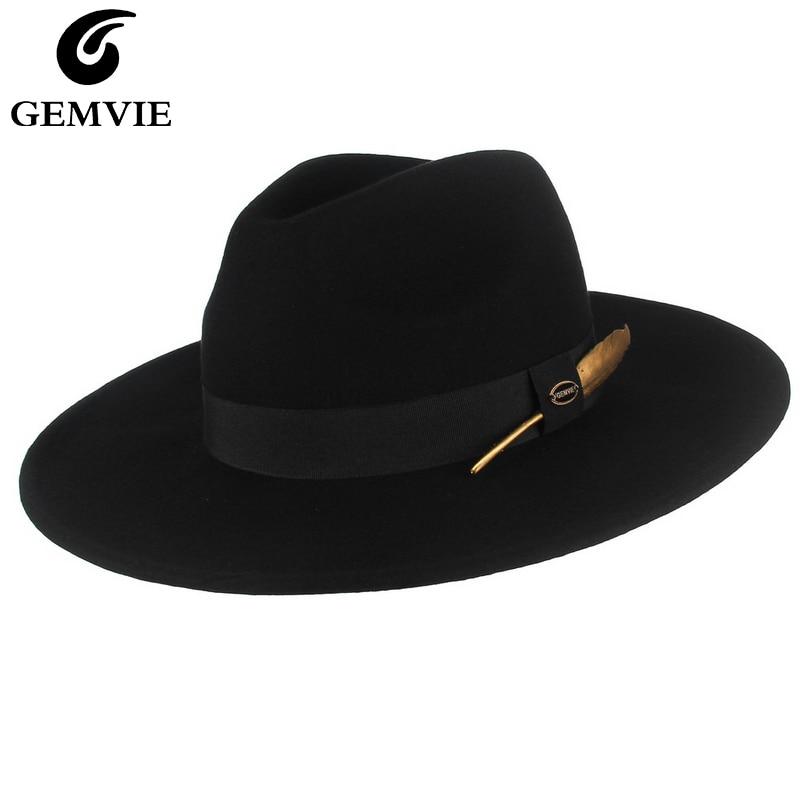 GEMVIE جديد 100% قبعة مصنوعة من الصوف 3 ألوان قاسية قبعة بحافة واسعة للرجل/المرأة مخطط ريشة الفرقة الخريف الشتاء بنما الجاز قبعة