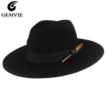 GEMVIE-chapeau en feutre de laine 100%   Nouveau chapeau 3 couleurs, Fedora à large bord rigide pour hommes/femmes, bande de plumes à rayures, automne hiver Panama casquette de Jazz