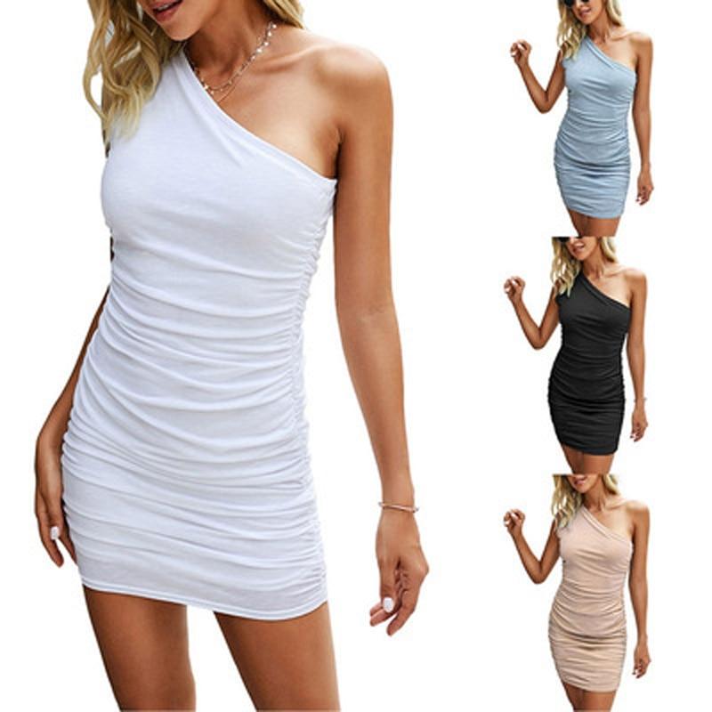 Aproms Elegant One Shoulder Cotton Ribbed Knitted Mini Dress Women 2021 Spring Streetwear Short Bodycon Dresses Black Sundress