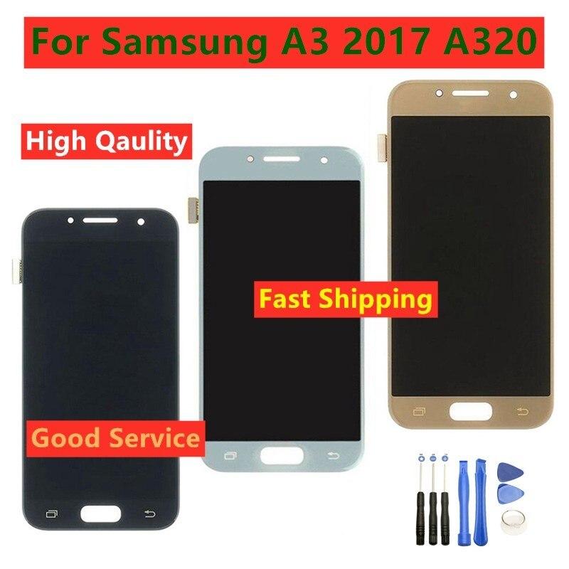 De alta calidad para Samsung Galaxy A3 2017 A320 A320M A320FL A320F pantalla LCD de montaje de digitalizador con pantalla táctil para A3 A320 LCD