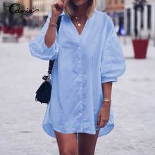 Celmia Women Long Shirt Dress 2020 Fashion Lantern Sleeve Summer Mini Dress Casual V-Neck Loose Party Beach Vestidos Plus Size