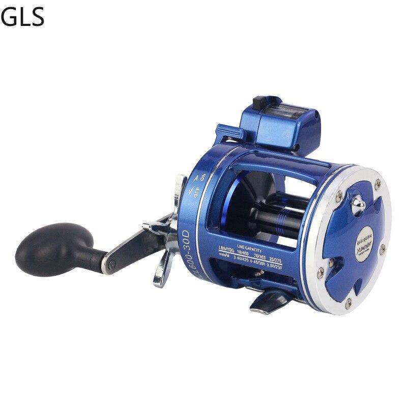 2020 nuevo 3,8 1/5.21 relación de engranajes rueda de tambor de fundición izquierda/derecha 12 rodamientos carrete de pesca con multiplicador de conteo de profundidad eléctrico