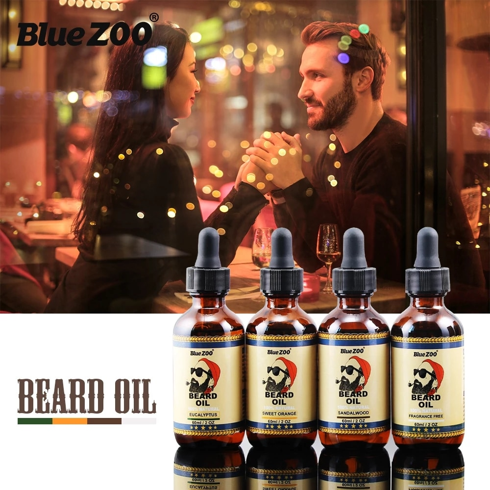 4PCS/Set 4 Tastes Natural Beard Oil Groomed Beard Growth Oil Hair Loss Leave-In Conditioner