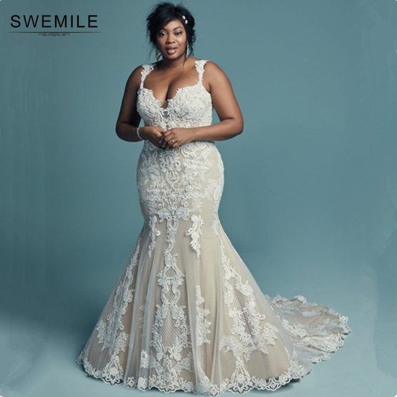 SWEMILE-vestidos De boda De talla grande, vestidos De encaje De sirena para boda estilo africano, vestidos De novia románticos para boda, Vestido De novia