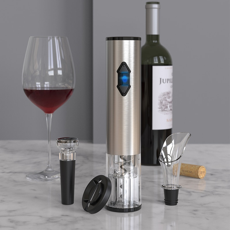 فتاحة زجاجات كهربائية محمولة ، فتاحة زجاجات أوتوماتيكية ، سكين ألومنيوم منزلي ، فتاحة نبيذ كهربائية ، إصدار صندوق يحتوي على مكنسة كهربائية