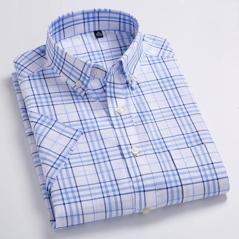 Мужская рубашка в клетку, голубая Повседневная тонкая рубашка в клетку, с короткими рукавами, накладным нагрудным карманом и воротником на ...