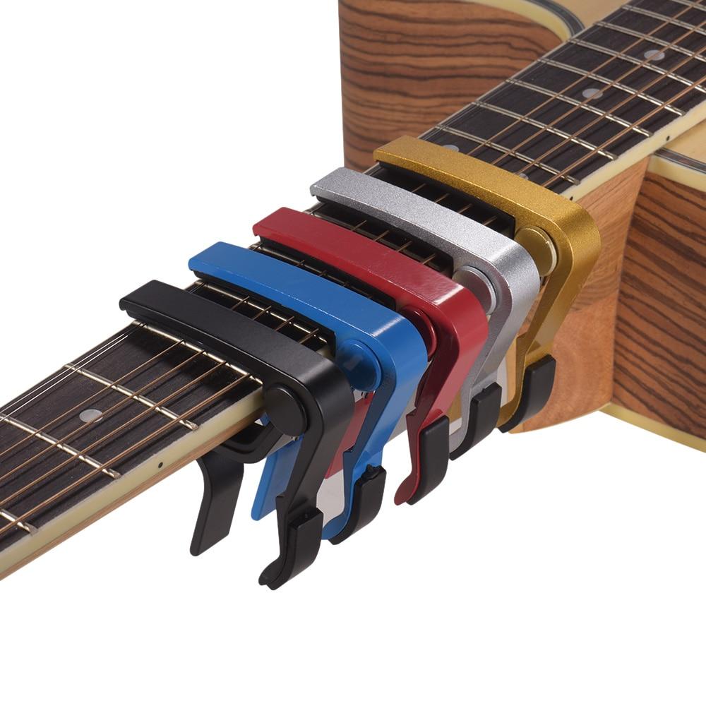 Liga de alumínio mudança rápida capo guitarra braçadeira de mão única para acústico folk guitarra baixo ukulele guitarra acessórios