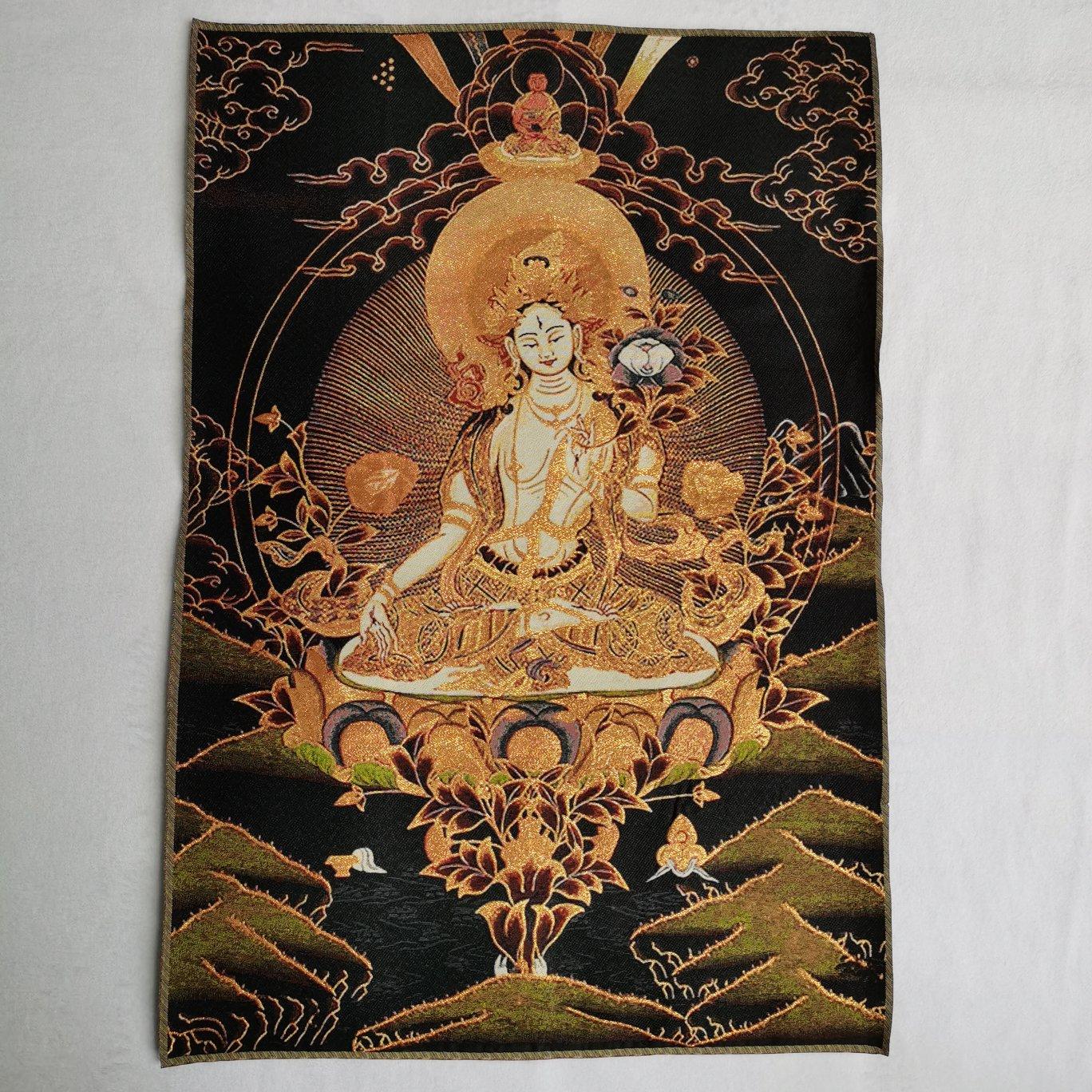 ibet antique buddha meditation thangka silk brocade tibetan buddha 36 Tibet Tibetan Embroidered  Cloth Silk Buddhism White Tara Tangka Thangka Mural Buddha Home Decor