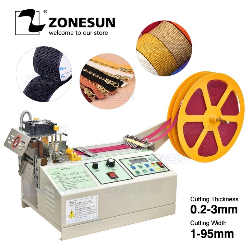 Zonesun automatic webbing lanyard ear belt rope tape cutting machine belt cutter machine