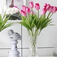 1pc tulip artificial flower wedding flower bouquet realistic simulation tulip artificial flower family party wedding decoration