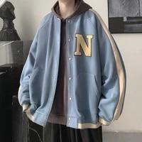 baseball uniform mens korean style trendy loose jacket jacket retro hit color american jacket oversized fashion jacket clothes