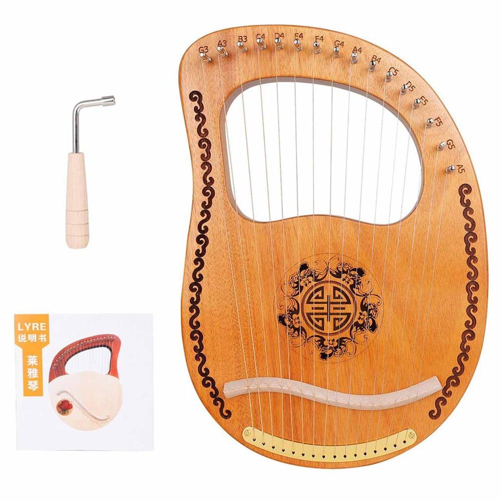 آلة القيثارة الصغيرة المحمولة من Lyre Harp مزودة بـ 16 خيط من الماهوجني آلة موسيقية صغيرة للمبتدئين من Lyre هدية ممتعة للأطفال والأولاد والبنات