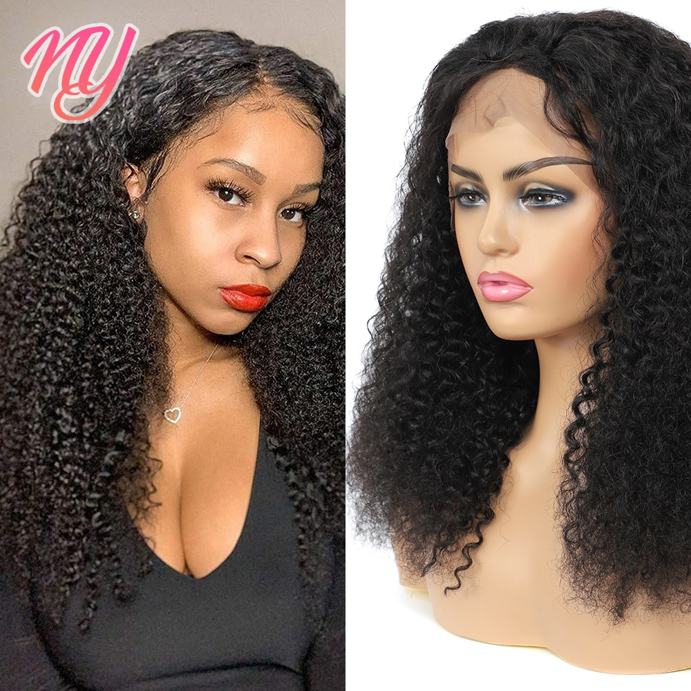 NY Kinky Curly Natural Color Lace Front/Closure Transparent HD Human hair Wigs in 8 to 28 inch Indian Remy Raw Hair