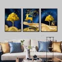 WTQ     toile de paysage de cerf et darbre  Art abstrait  images murales decoratives  peintures nordiques  decor de salle dart mural  decoration de maison