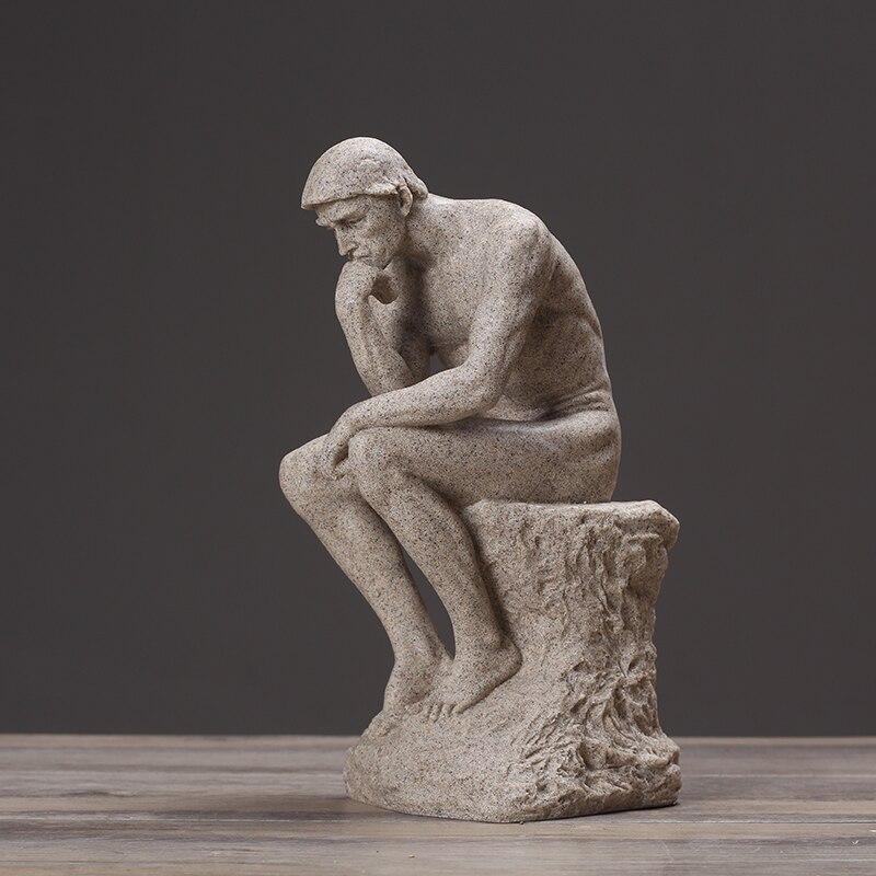 Статуя мыслителя родина, скульптура изобразительного искусства, мужская фигура в Стиле Ню, скульптура, украшение статуи, современное искусство, украшение из смолы