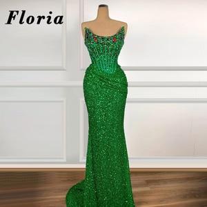 Dubai Green Glitter Party Dresses Arabic Beaded Evening Prom Gowns 2020 Middle East Strapless Long Vestido De Festa Party Dress
