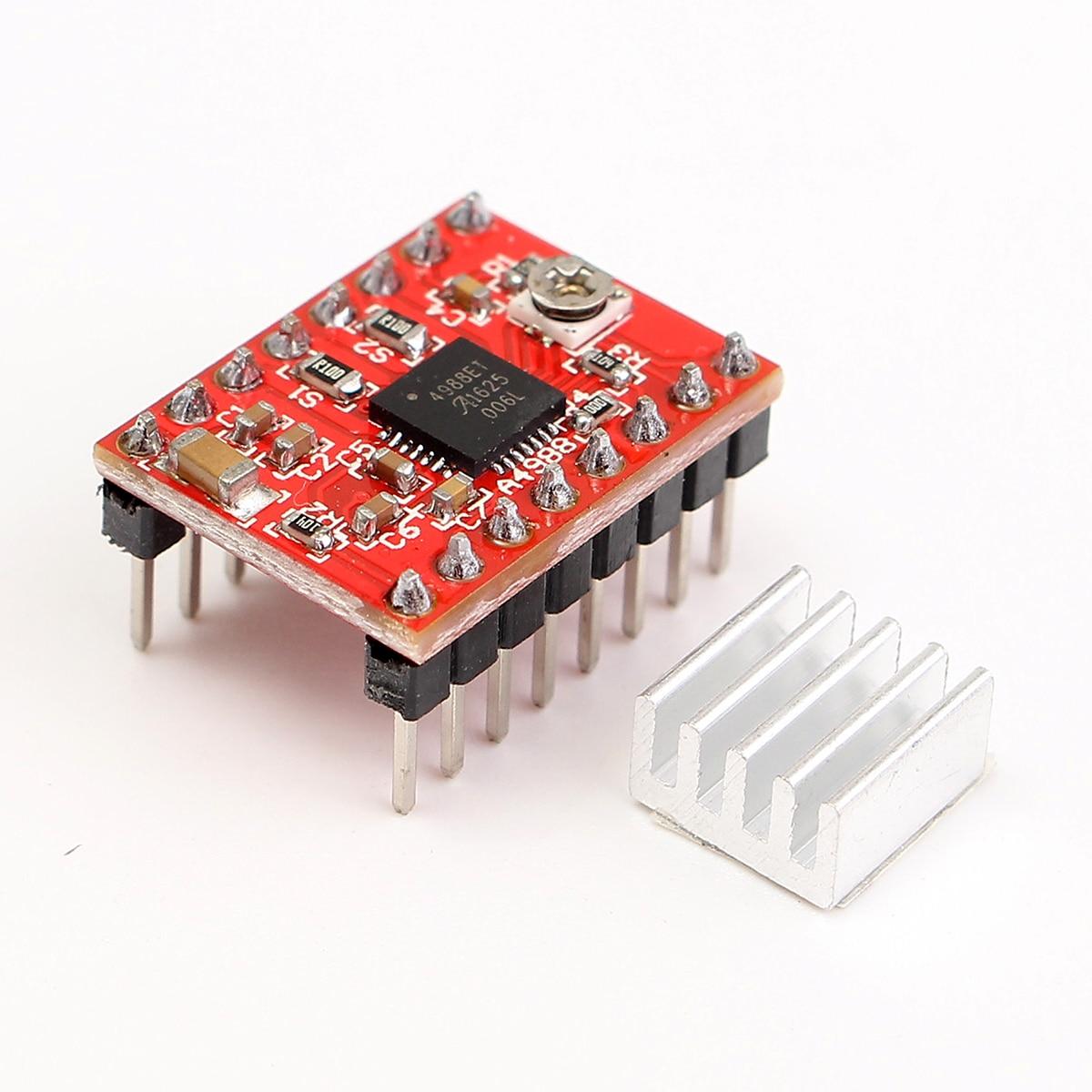 Controlador paso a paso de 5 uds A4988 + disipador de calor para piezas de impresora 3D Reprap, controlador de Motor paso a paso rojo con accesorio de disipador térmico