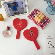 Cherry SPA Salon Vanity Mirror with Handle Heart-shaped Makeup Tool Makeup Mirror Handheld