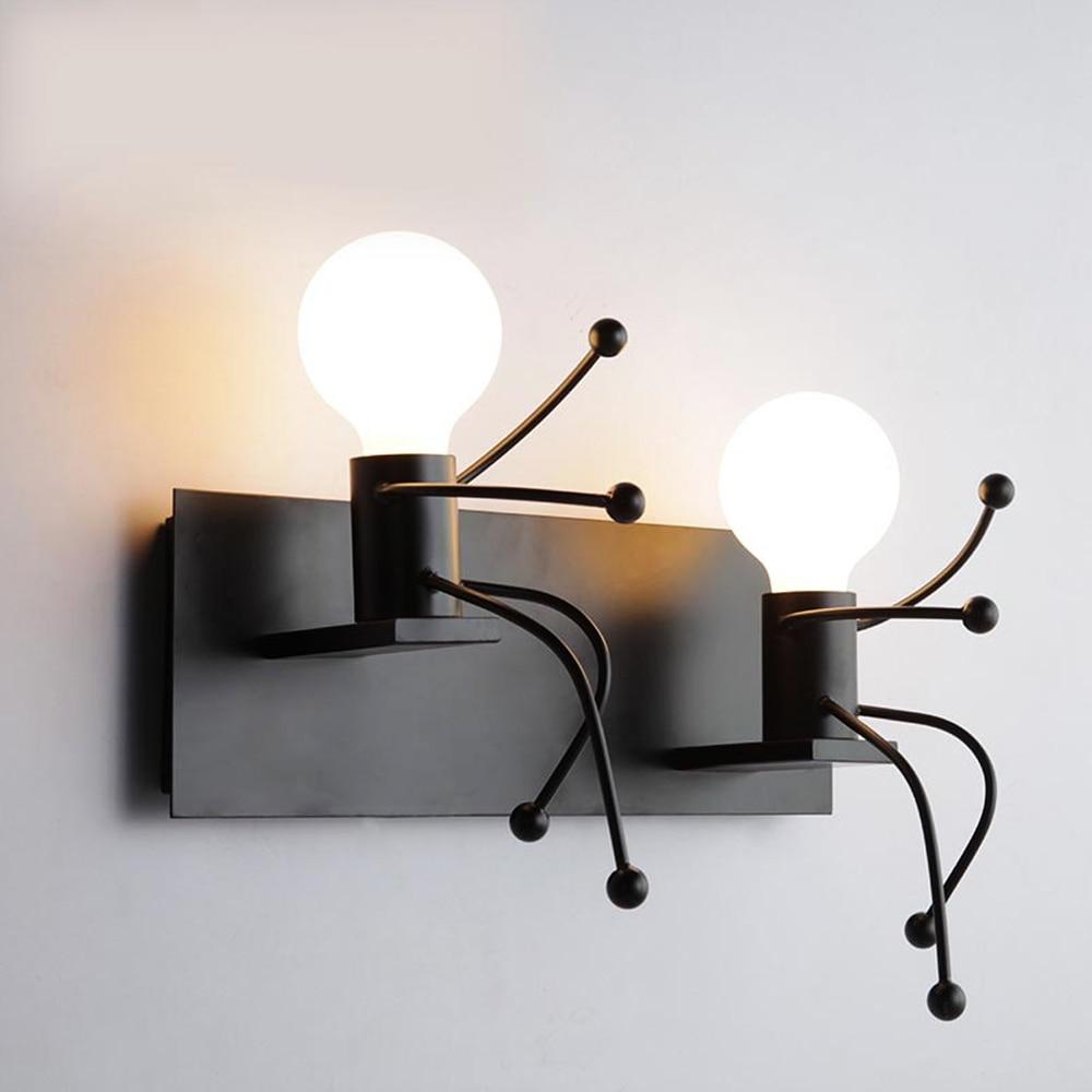 Noridc Stlye Moderne Metall Roboter Form Indoor Wand Licht Kreative Schlafzimmer Nacht Lampe Korridor Wand Hängen Licht (Ohne leuchtmittel)