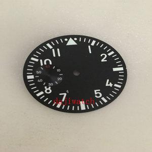 38.9mm PARNIS black watch dial watch movement green luminous replacement parts, suitable for ETA 6497