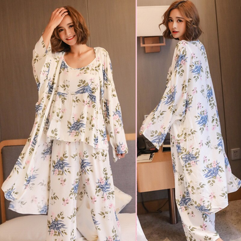 Women Pajamas 3 Pieces Satin Sleepwear Pijama Silk Home Wear Home Clothing Embroidery Sleep Lounge P