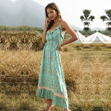 Summer Ruffles Print Dress Women Bohemian V Neck Sleeveless Spaghetti Strap Dress 2020 New
