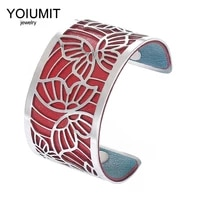 cremo hollow wide cuff bangles for women jewelry yoiumit stainless steel bracelets bangles interchangeable leather pulseiras