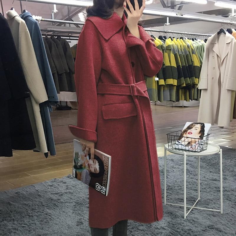Moda coreana invierno de doble cara de gama alta Casual suelta cinturón de lazo arce rojo largo de talla grande abrigo de lana chaqueta de mujer