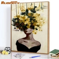 ruopoty framed painting by numbers color block girl for adult paint by numbers kits on canvas diy minimalist style