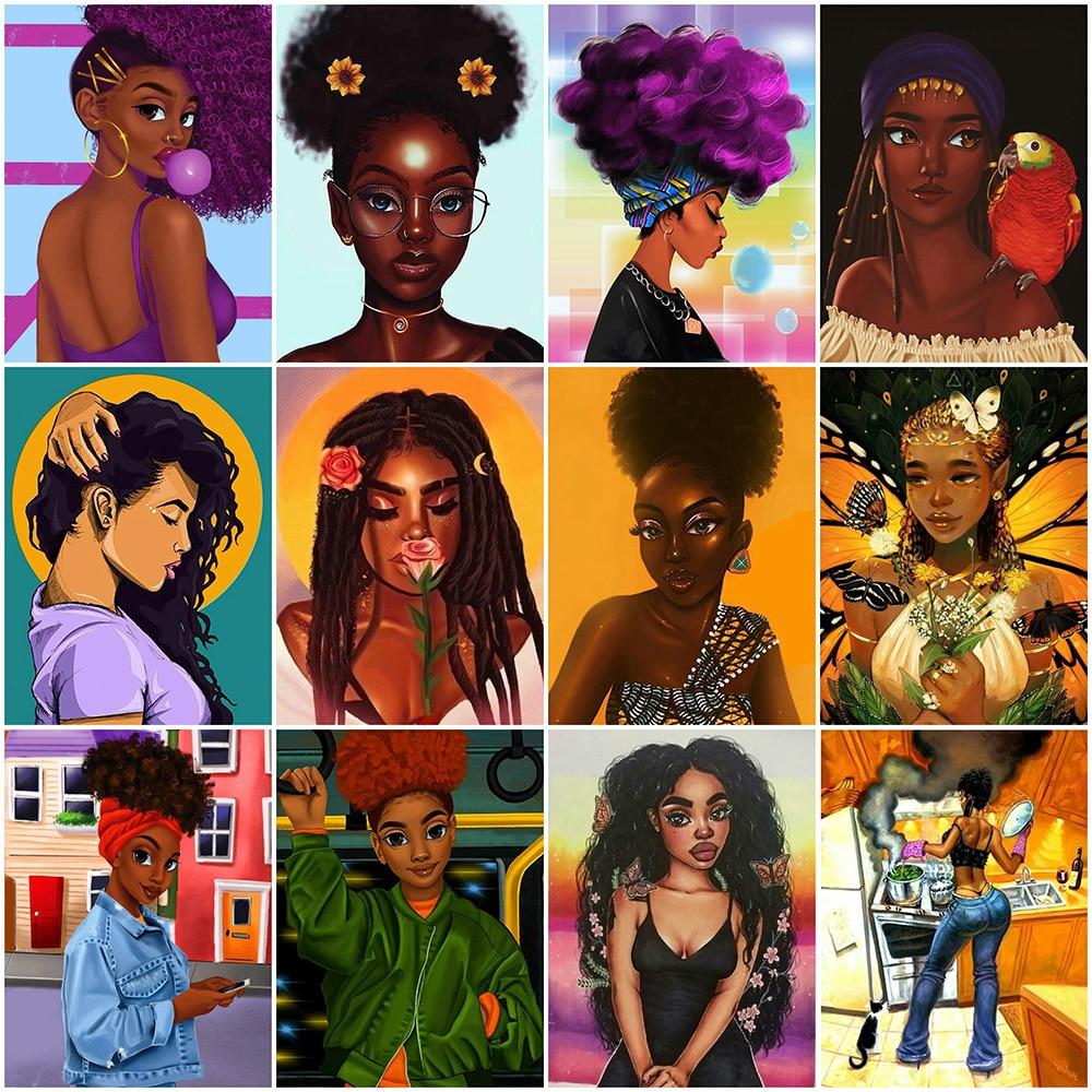 DUTEY 5D DIY Diamond Painting African Woman Full Square Handmade Gift Diamond Embroidery Portrait Cr