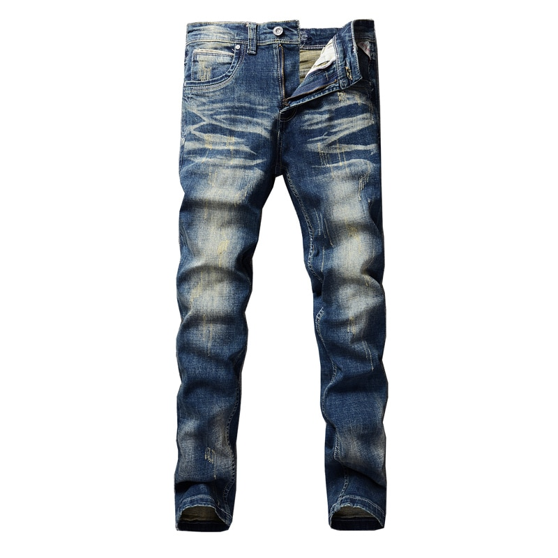 Mens Youthful  Straight Slim High Quality Pants Denim Casual Jeans Harem Male  Fashion  Trousers Man solid Versatile Streetwear
