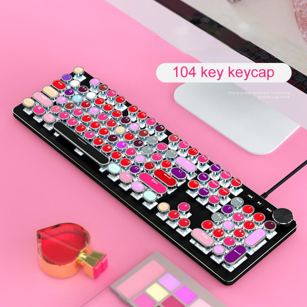 104 Key ABS Mixed Color Round Keycap Lipstick Color Backlight Mechanical Keyboard Keycaps Colorful key caps for PC Computer