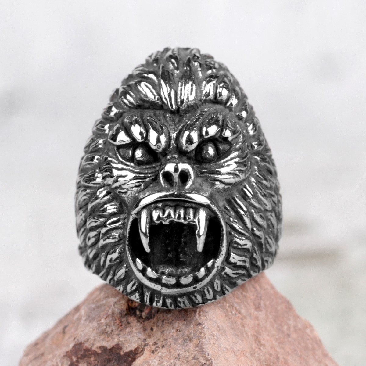 Acier inoxydable hommes anneaux soleil Wukong singe roi Animal Punk Rock pour motard mâle petit ami bijoux créativité cadeau en gros