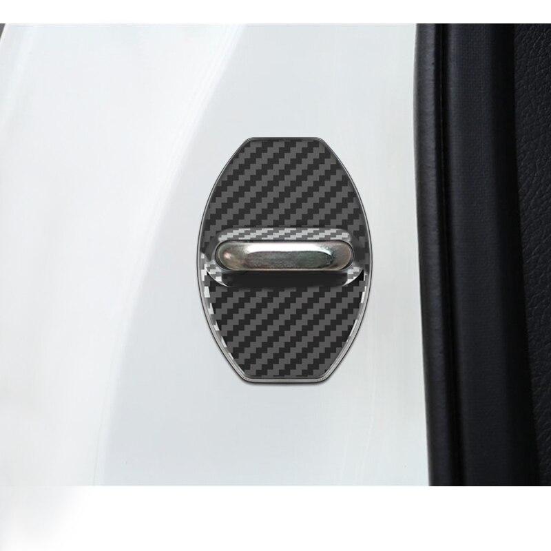 Capa de fibra de carbono para porta de carro, capa com emblema automático para volkswagen golf 7 mk6 mk5 polo tiguan skoda acessórios octavia