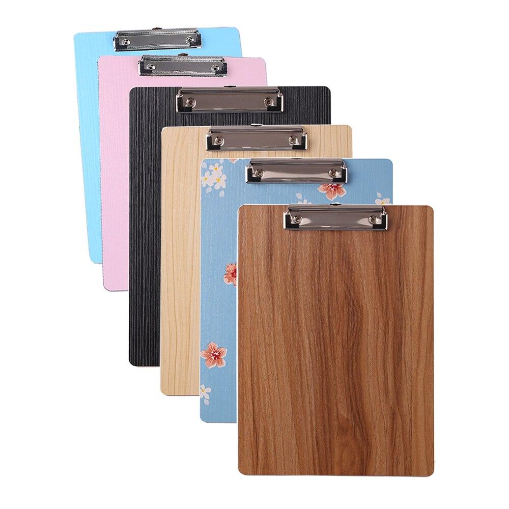 6Pcs A5 Wood Clipboards Mini Restaurant Menu Metal Clip Writing Board Pad Office Paper Sheet Holder File Folder Supply Organizer