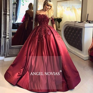 Long Sleeves Burgundy Satin Arabic Evening Dress 2020 Ball Gown Moroccan Sexy Formal Prom Party Gowns suknie wieczorowe