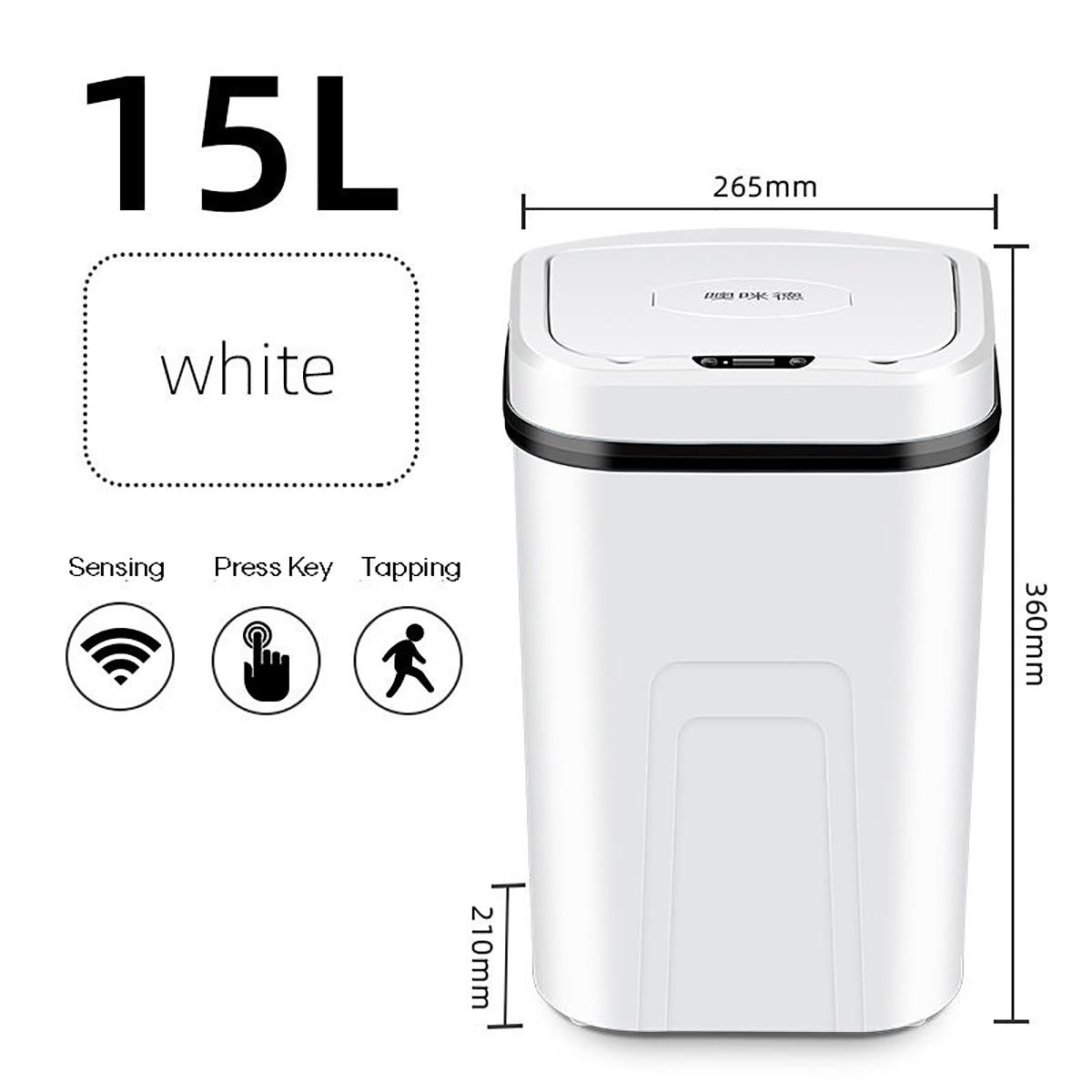 15L التلقائي Touchless ذكي التعريفي محس حركة حاوية القمامة المطبخ واسعة افتتاح الاستشعار صديقة للبيئة النفايات Garbag