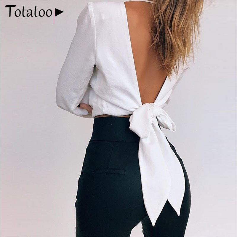 Totatoop Open Back Bandage Chiffon Bluse Shirts Frauen 2020 Sommer Elegante V-ausschnitt Laterne Hülse Backless Sexy Crop Top Weiß