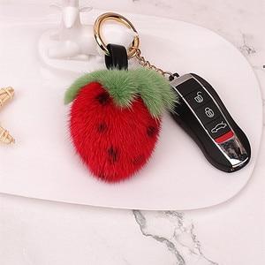 Cute Mink Fur Ball Pompom Diy Straberry Keychains Keyring  For Girls Bag Charm Backpacks Key Chain Women Birthday Gift New