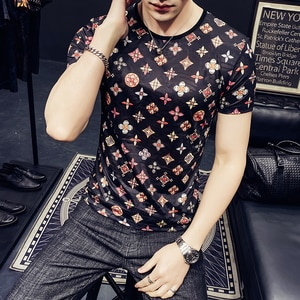 men t shirt wear han edition cultivate morality man printing web celebrity ice silk short man with short sleeves B333 T1020 P40