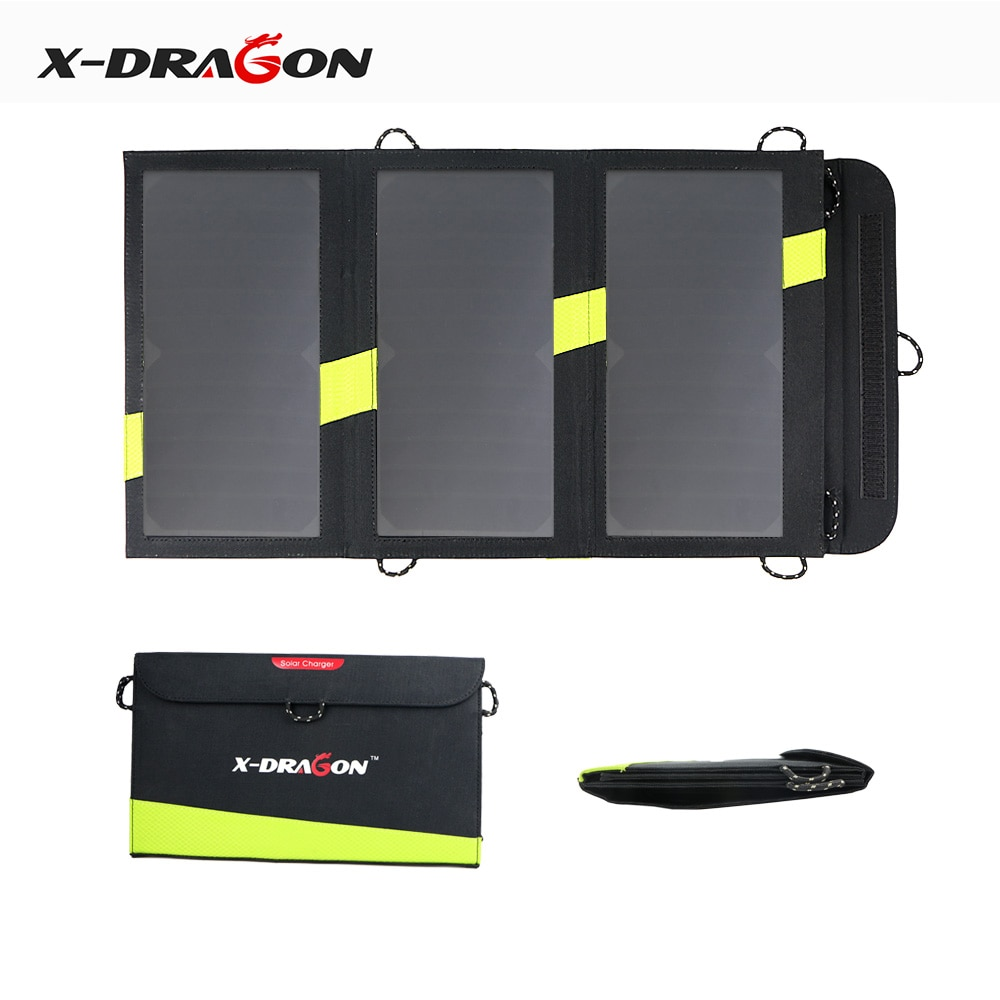 X-DRAGON Solar Mobile Power Battery Charger 5V 20W Portable Outdoor Foldable Solar Panel Cells Micro USB for Xiaomi iPhone iPad