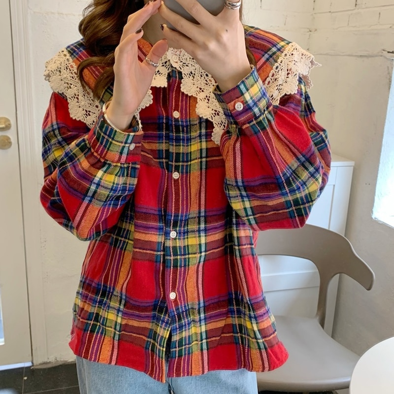 2021 Spring chic plaid peter pan collar retro shirt sweet termperament preppy style shirt 2021 new arrivals early spring shirt