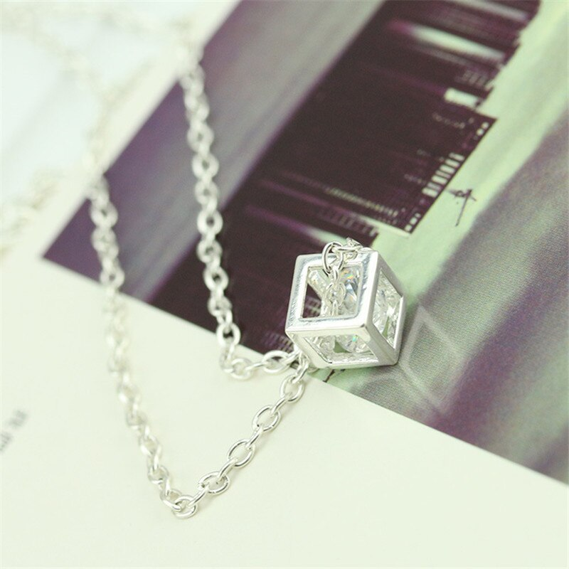 square cube necklace&pendant crystal long rhinestone gold statement chain jewelry for women female cubic fashion party gift