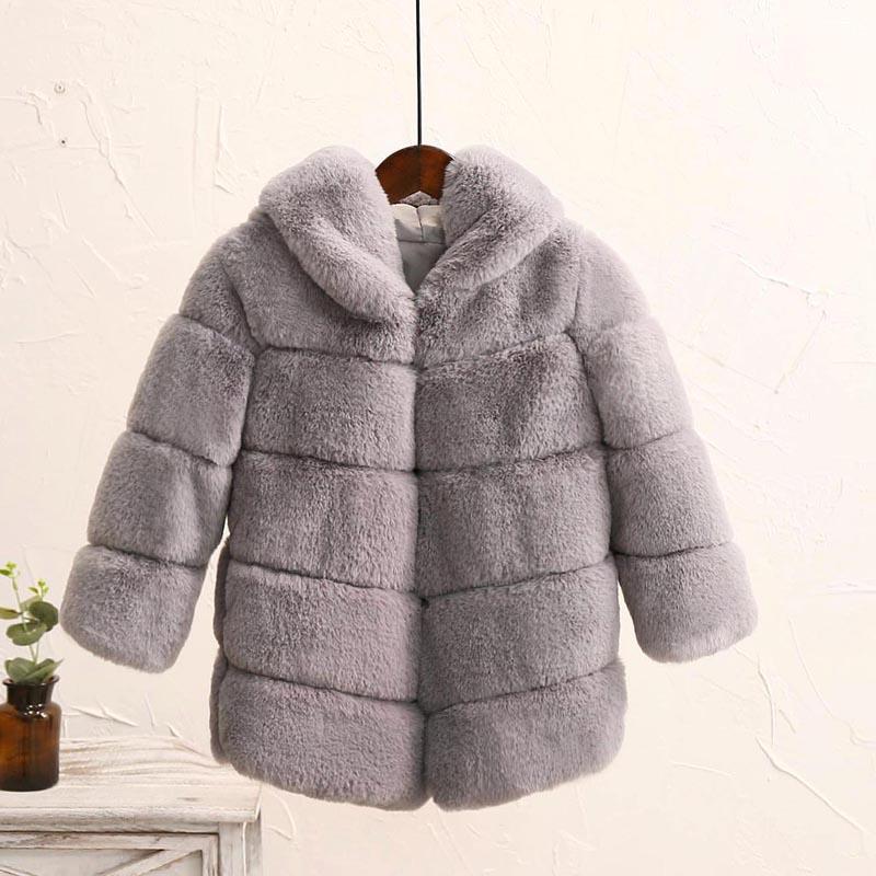 Winter Girls Fur Coat Fashion Elegant Baby Girl Faux Fur Jacket Parka Hooded Children Outerwear Thic