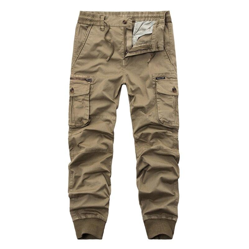 Брюки-карго мужские тактические, однотонные штаны в стиле милитари, с поясом на резинке, с несколькими карманами, до щиколотки