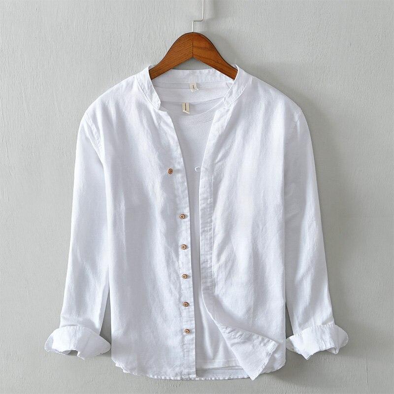 Algodón y lino stand collar marca hombres camisa moda casual camisas para hombres sólido cómodo camisas hombre camiseta