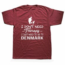 Denmark Therapy Birthday Funny Unisex Graphic Fashion New Cotton Short Sleeve Vintage T Shirts O-Nec