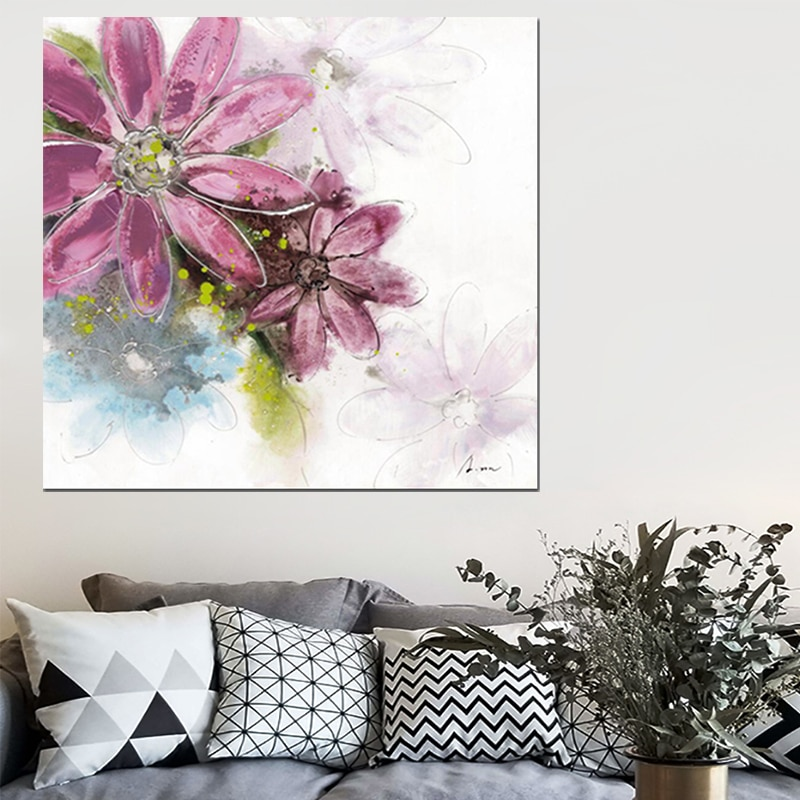 OUCAG el moderno póster de flor floreada a la moda pintura al óleo a prueba de agua arte de pared decoración del hogar gráfico para sala de estar