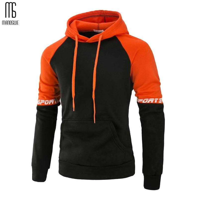 Manoswe Men Spring Autumn Hoodies & Sweatshirts New Large Casual Hooded Men Sport Long Sleeve Patchwork Pullover Jacket Coat